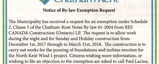 Notice of By-law Exemption Request